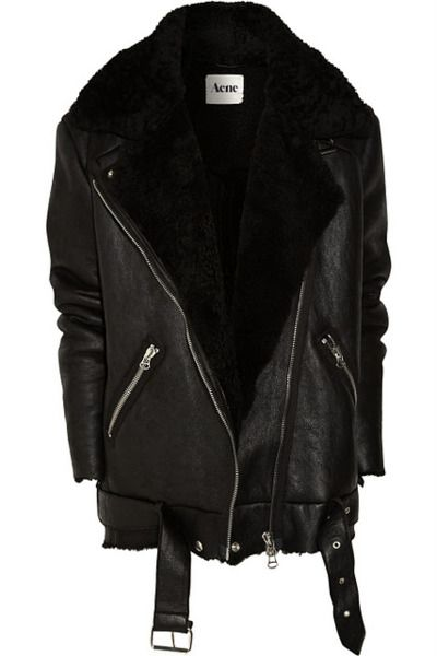 acne leather jacket for winter..
