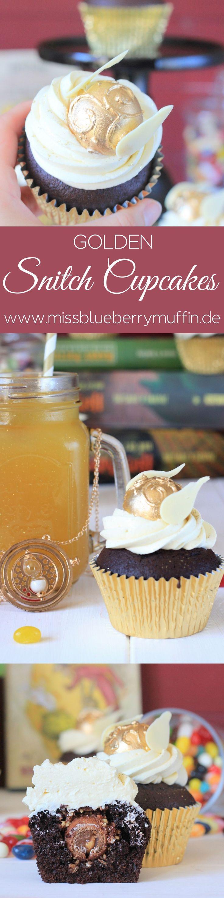 Harry Potter Cupcakes mit dem goldenen Schnatz // Golden Snitch Cupcakes from Hogwarts <3