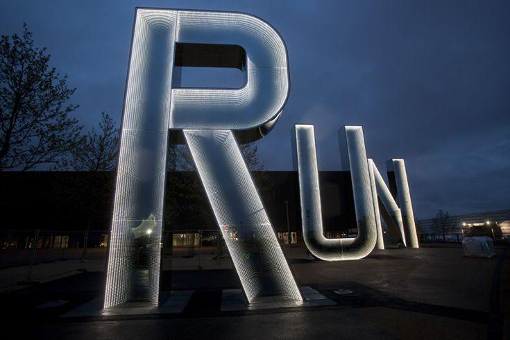 RUN by Monica Bonvicini. Mirrored glass