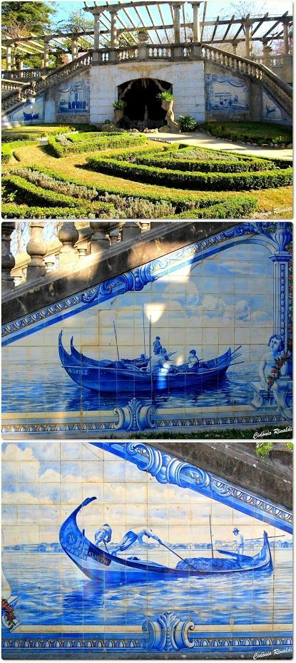 Amazing azulejo (hand painted tiles ) in the park Infante Dom Pedro - Aveiro - Portugal
