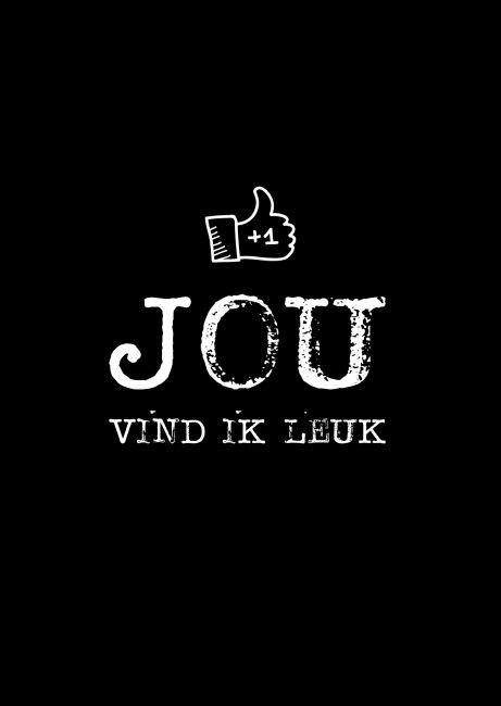 Kaartje. Jou vind ik leuk. Ontwerp: byBean. Je shopt 'm hier: http://www.bybean.nl/kaartjejouvindikleuk