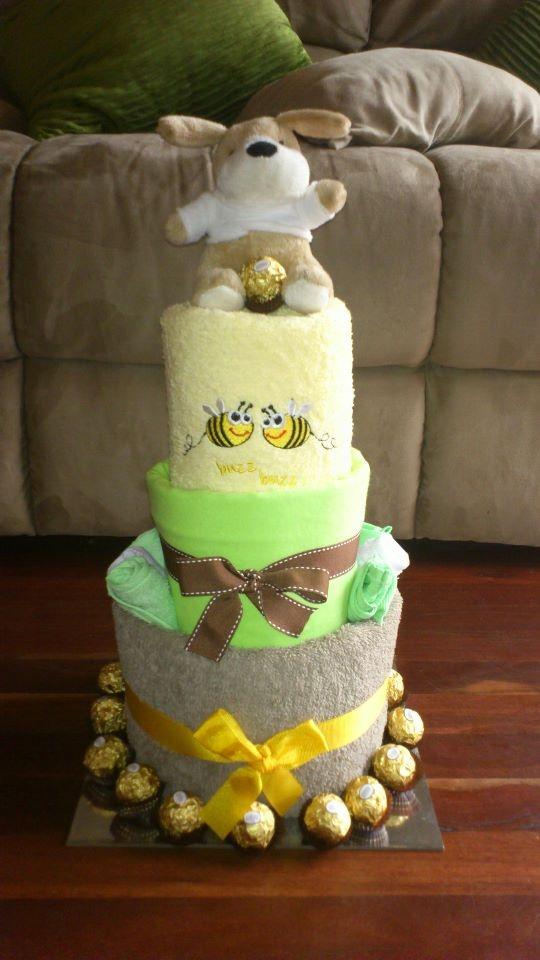 3 tiered unisex nappy cake