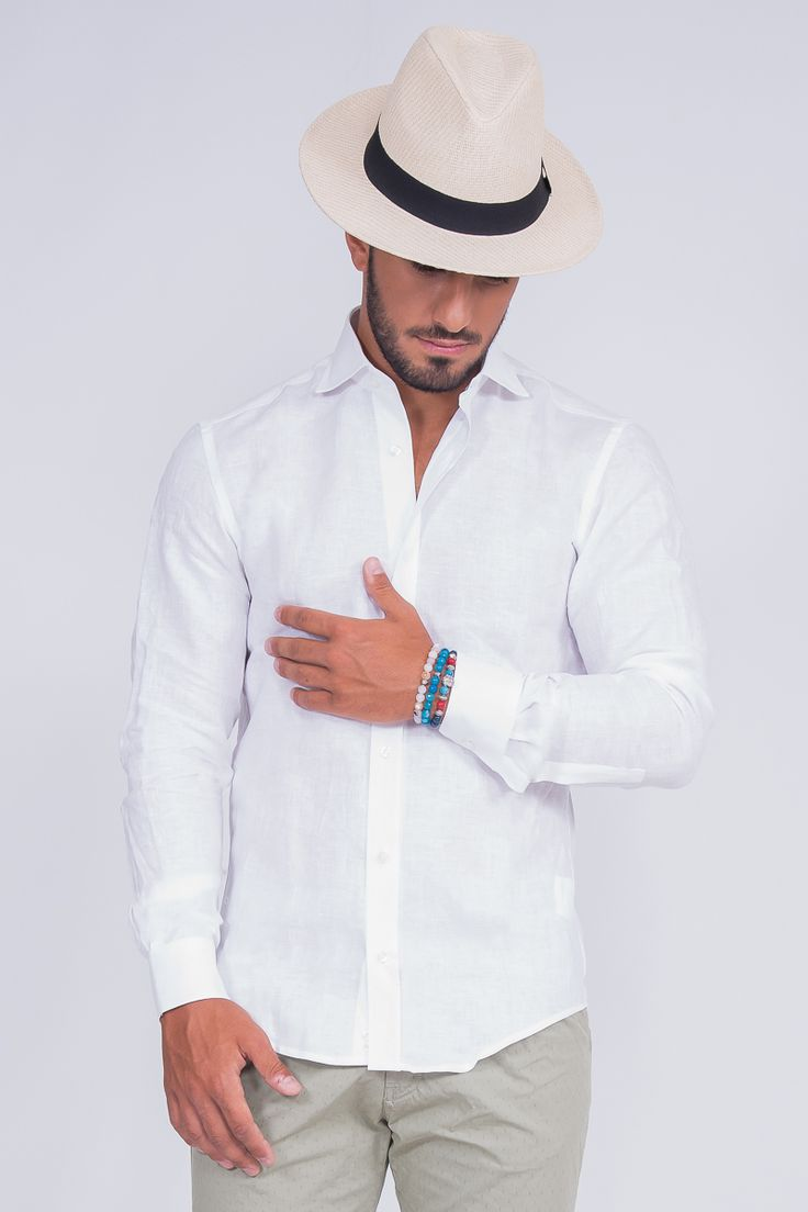 Regular Fit Shirt With Spread Collar In Linen
