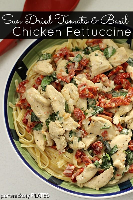 Homemade Sun Dried Tomato & Bas il Chicken Fettuccine made in one pot and so very good! | Persnickety Plates