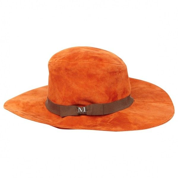 Pre-owned Maison Michel Hat (30350 DZD) ❤ liked on Polyvore featuring accessories, hats, orange, maison michel hat, orange hat and maison michel