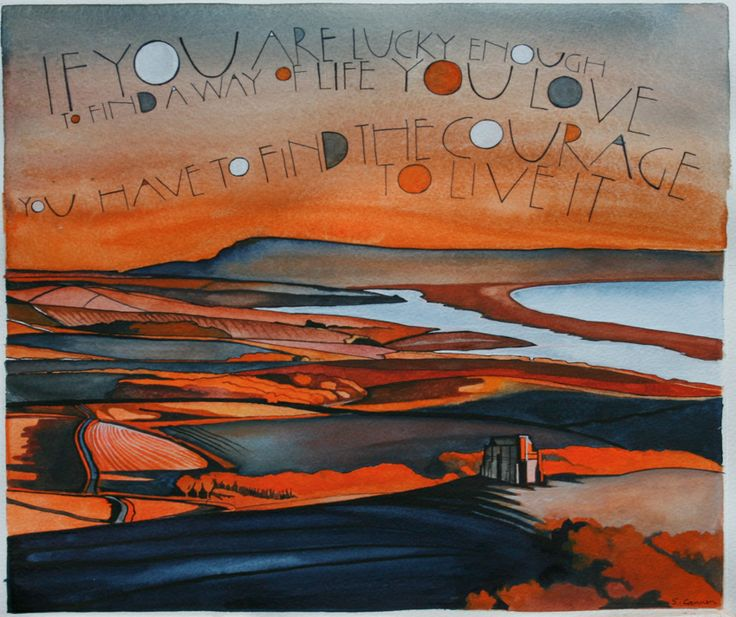 Abbotsbury (St Catherine's looking towards Portland) By Sam Cannon Art Watercolour, pen and gouache on paper www.samcannonart.co.uk