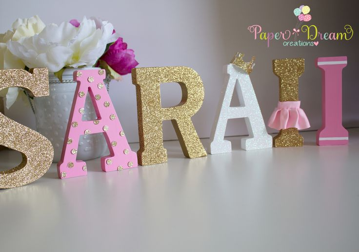 Princess glitter name plaque. GOLD AND PINK  via etsy by Paper Dream Creations