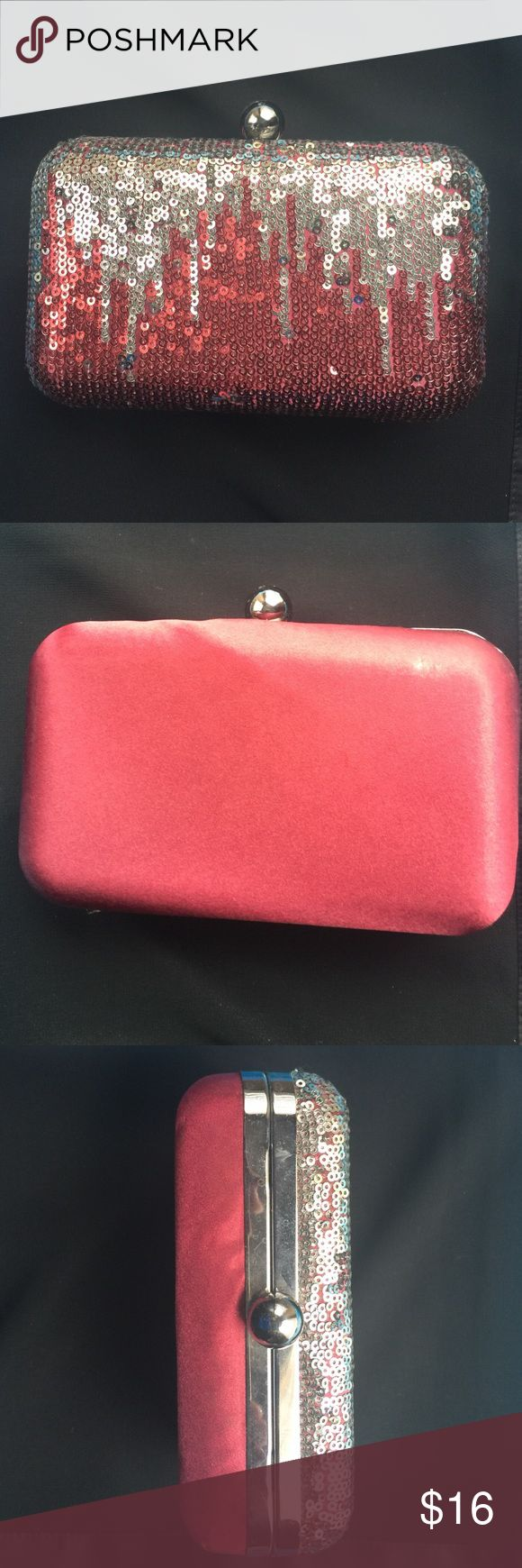 Christopher Straub silver/burgundy formal clutch New with tags, hard shell small clutch, great for formalwear and the holidays. Christopher Straub Bags Clutches & Wristlets