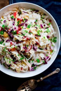 Easy Holiday Slaw with Apple and Pomegranate | Side Dish | Salad | Vegan | Gluten-free | Paleo | Holiday | Vegetarian | Christmas | Winter | Healthy Seasonal Recipes | Katie Webster