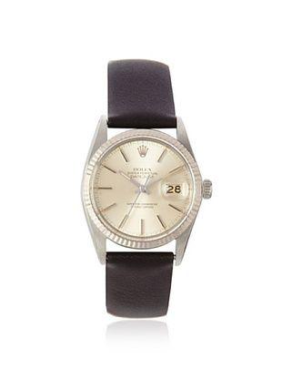 Rolex Men's Datejust Black/Silver Leather Watch