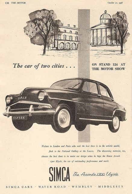 Simca Cars advert, in The Motor - 1956
