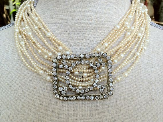 Antique Repurposed  Czech Rhinestone Buckle and by funkyjunkmama, $48.00