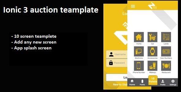 Auction ionic 3 app template List of screen 1) Login screen 2