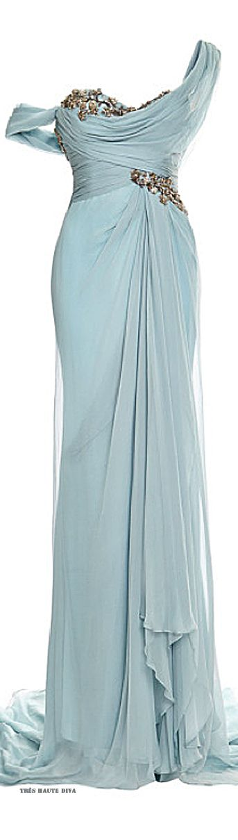 goddess, Marchesa One Shouldered Chiffon Gown with Embroidered Bodice and Drape Detail ♔ Resort 2015