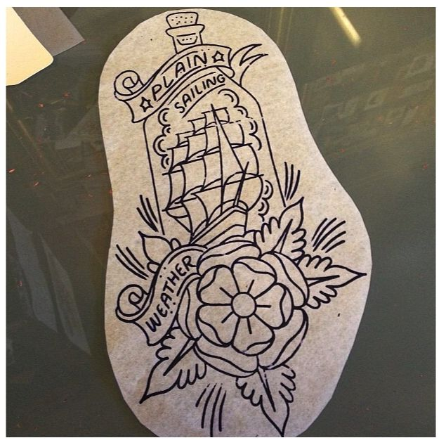 Traditional tattoo. Sailing ship tattoo. Ship in a bottle. Stencil. By @paulfultontattoo