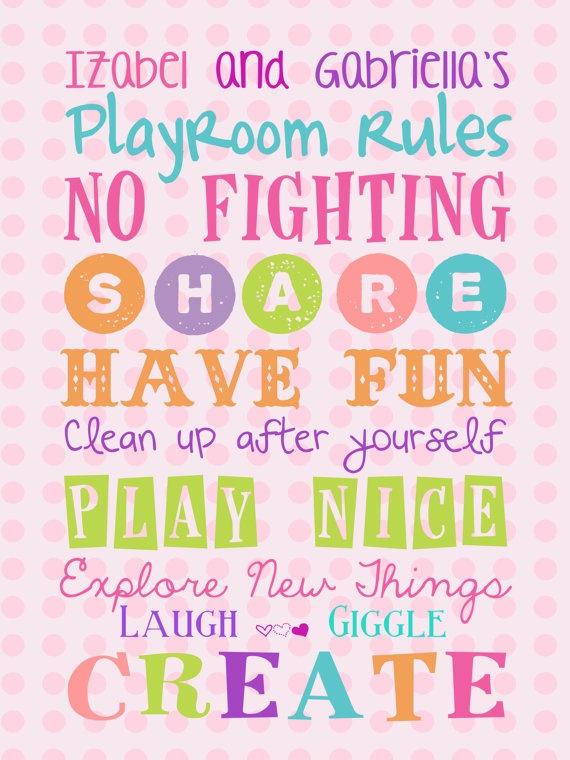 Girls Custom Playroom Rules16x12 Canvas  Nursery by PurplePossom, $47.50