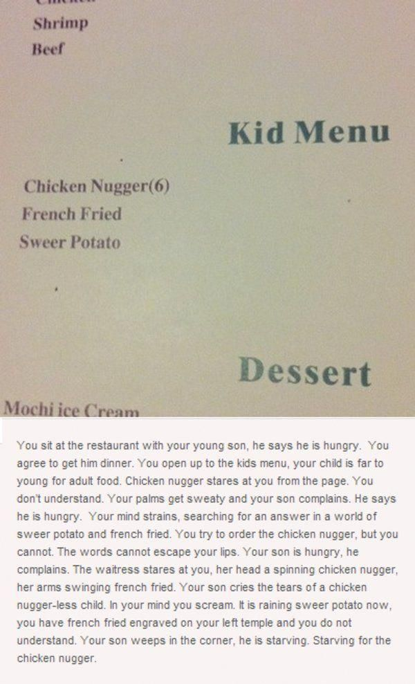 Chicken Nugger Is A Misspelling Of Nuggets Originally Found On Restaurant Menu Along With French Fried