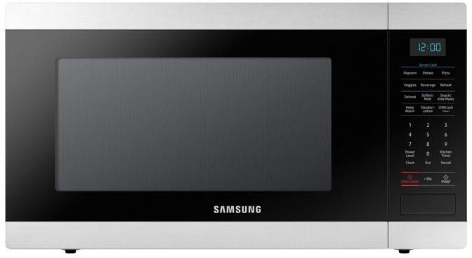 Samsung MS19M8000AS 1.9 cu. ft. Countertop Microwave Oven with Sensor Cook, Eco Mode, Auto Defrost, LED Display, 950 Watts of Power, 10 Power Levels and Child Lock: Stainless Steel
