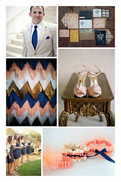 Navy Blue and Peach Wedding   navy board but i love this peach gold and navy board the chevron ...