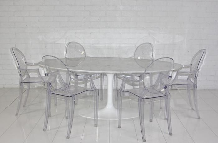 Eero Saarinen Style Oval Marble Dining Table