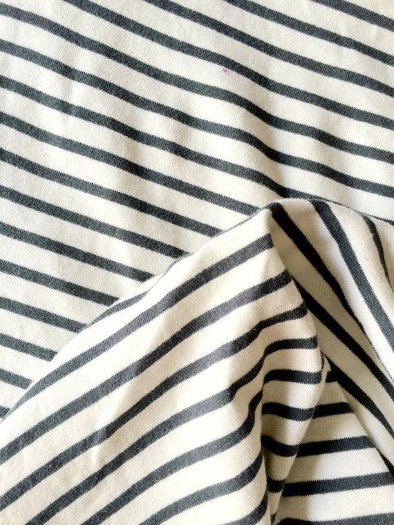 Organic cotton fabric sailor stripes baby rib charcoal for Children s cotton dress fabric