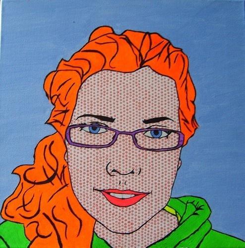 Een zelfgemaakt schilderij voor mijn ouders (omdat ik niet op een foto wilde); een zelfportretje in Pop-Art-Stijl... still proud!