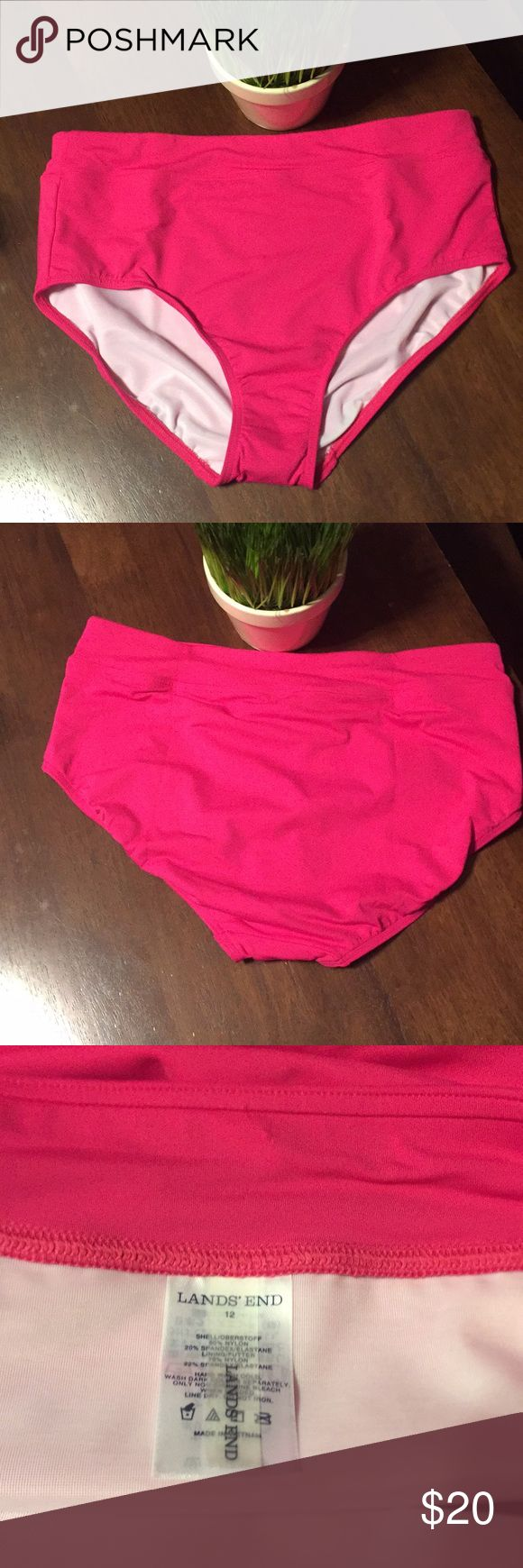 """[Lands' End] Pink Bikini Bottom Sz 12 NWOT [Lands' End] Pink Bikini Bottom Sz 12   Measurements laid flat approximately: L to l12.5""""/Across band 15""""    NWOT- Above tag small puncture where tag was.  🚫Trades/modeling  I don't discuss price in comment section.  ✅Use (OFFER)/Buy now tabs.👍🏼👍🏼 -Happy Poshing! Lands' End Swim Bikinis"""
