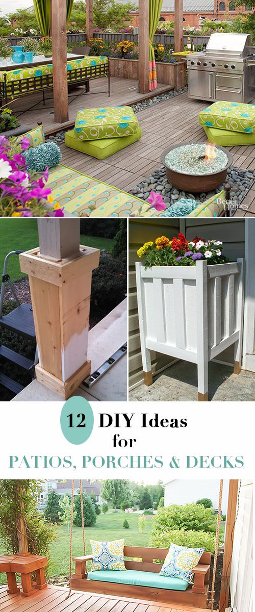 12 DIY Ideas for Patios, Porches and Decks • Great blogger tutorials and inspiration for freshening up your outdoor spaces!