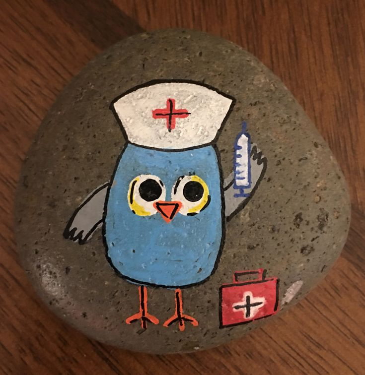 Nurse bird painted rock
