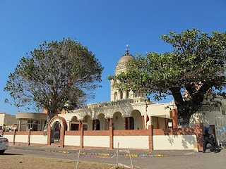 "The Hindu Temple in Umgeni Road.   Durban is known as the largest ""Indian"" city outside India. This temple was built mainly for Indian laborers."