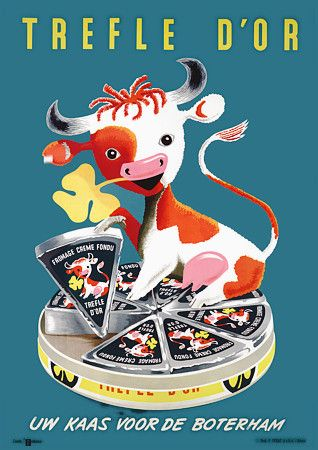 Cute vintage Trefle D'Or cream cheese cow poster http://www.vintagevenus.com.au/products/vintage_poster_print-fd333