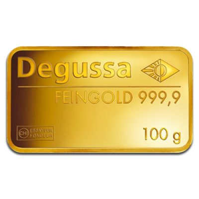 100g Gold Bullion | Gold Bar | Degussa | goldankauf-haeger.de