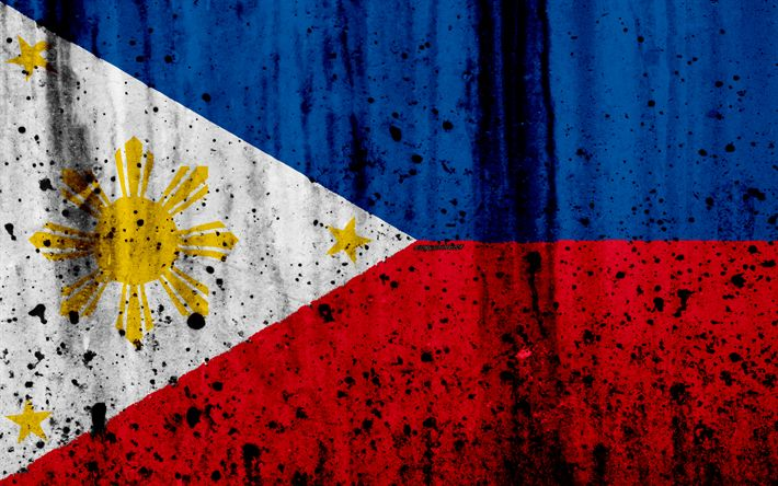 Download wallpapers Philippines flag, 4k, grunge, flag of Philippines, Asia, Philippines, national symbols, Philippines national flag