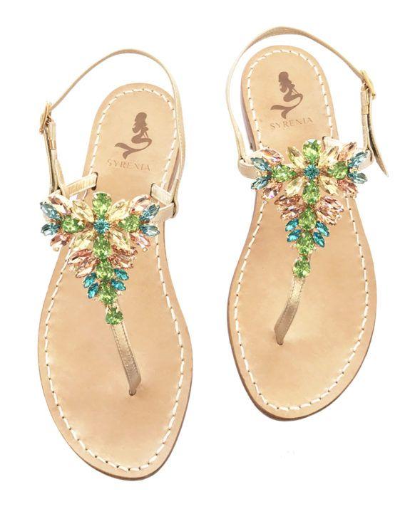 """Sandalo infradito gioiello """"Malania"""" multicolore - capri style - Jewelled multicolor sandals"""