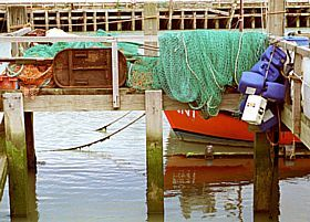Newhaven - Nets drying at Newhaven Harbour © Diana Hitchin