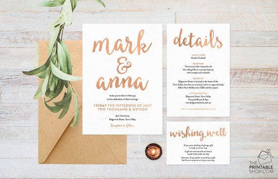 Rustic rose gold modern calligraphy style printable wedding invitation suite by The Printable Shop on Etsy