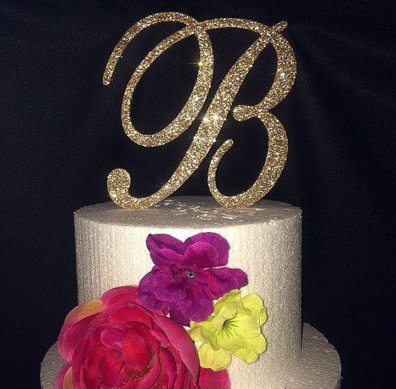 Glitter Cake Topper. Monogram Cake Topper. Cake Topper. Wedding Topper. Birthday Cake Topper. Cupcake Topper. Glitter. Glitter Cake.