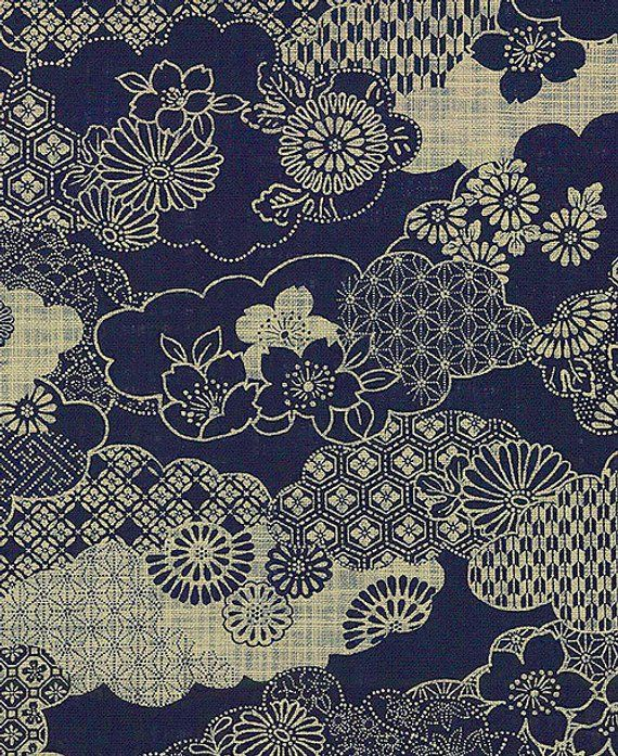 Clouds Of Traditional Designs Homespun Indigo Japanese