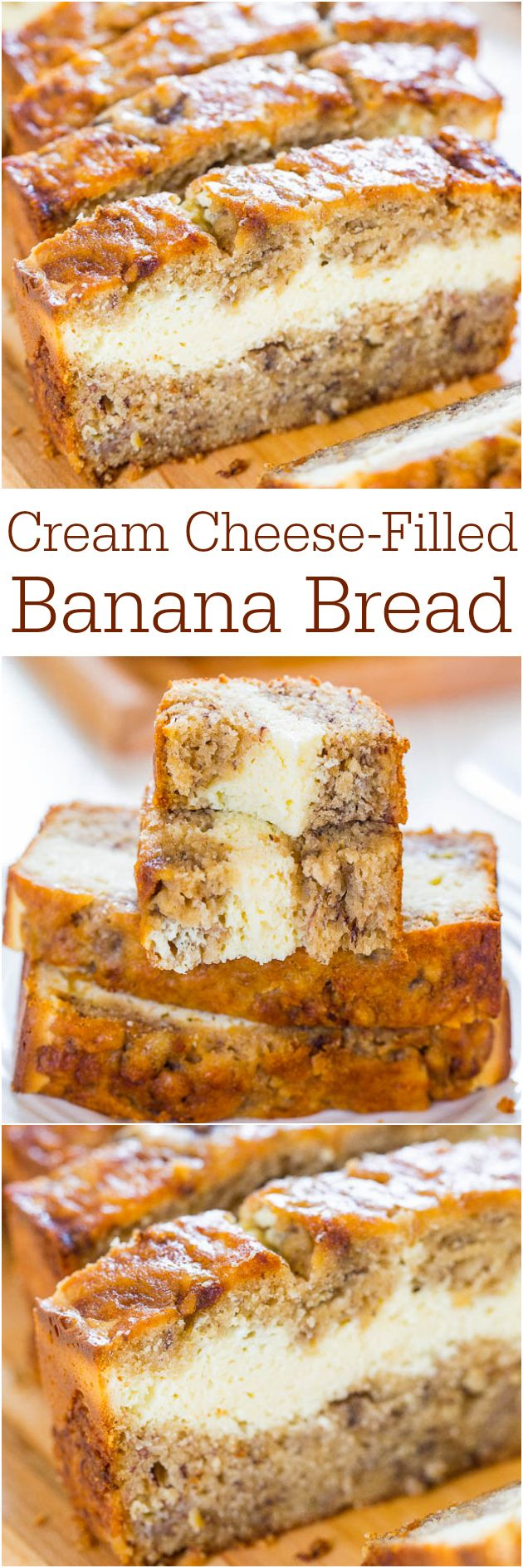 Cream Cheese-Filled Banana Bread - Banana bread that's like having cheesecake baked in! Soft, fluffy, easy and tastes ahhhh-mazing!  CLICK THE PHOTO TO VISIT THE RECIPE!!