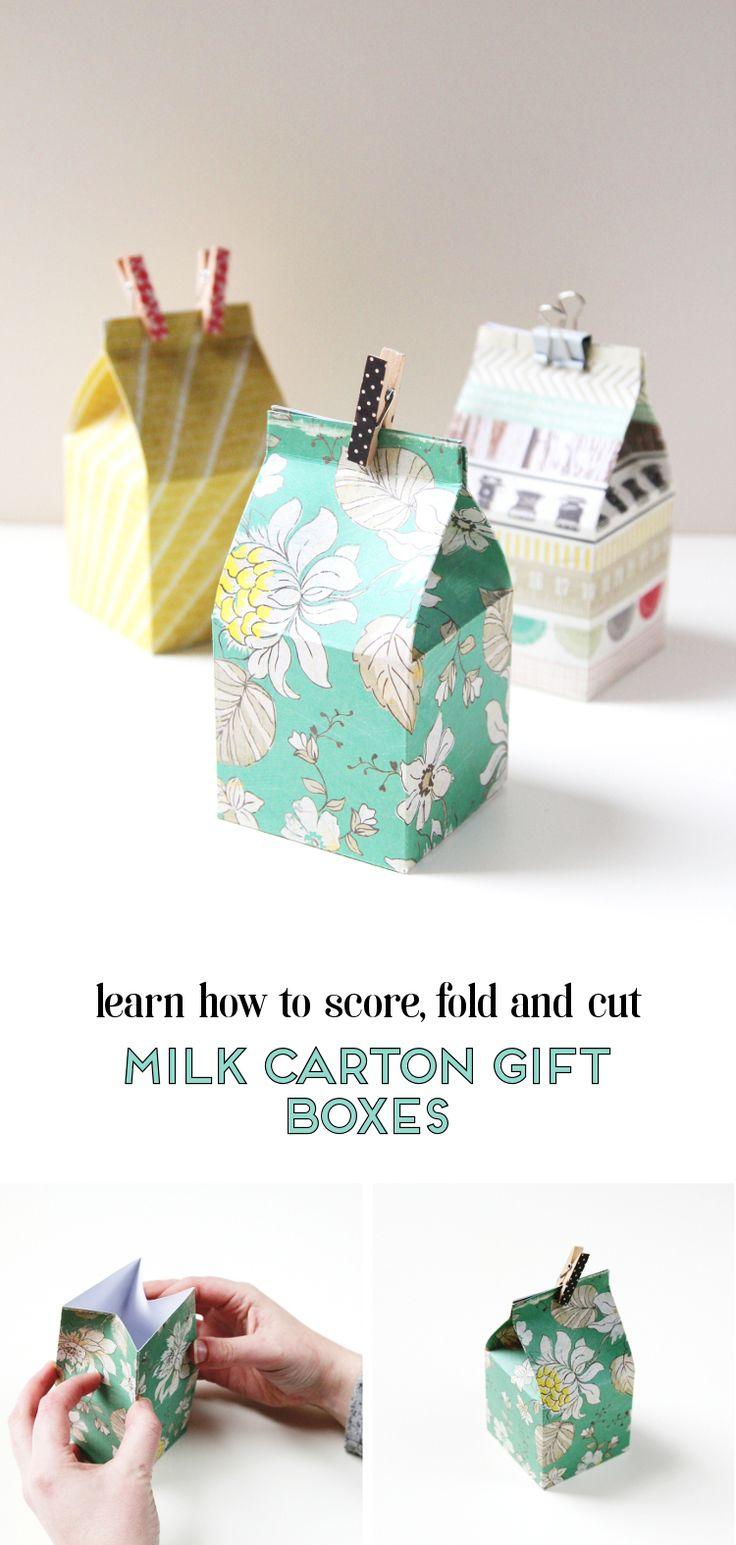 LEARN HOW TO CUT, FOLD AND SCORE DIY MINI MILK CARTON GIFT BOXES.