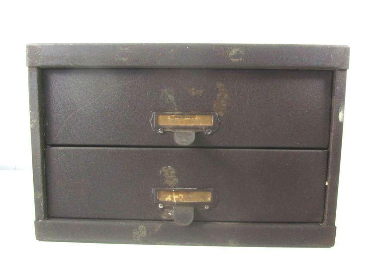 Vintage metal drawer, tool box, metal drawer box, two drawer, dresser , storage cabinet , organizer, file box by KarensChicNShabby on Etsy