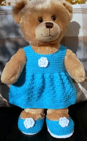 http://linmary123.blogspot.co.uk/2015/04/teddy-knitted-dress-and-shoes.html?m=1 - pattern for dress and shoes - bear not included.
