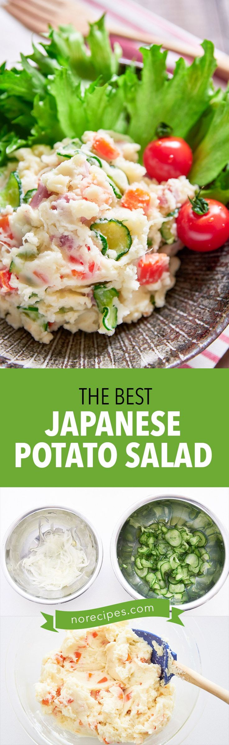 With sweet carrots, crunchy cucumbers, pungent onions and savory ham, this easy Japanese-style potato salad is colorful and delicious! #picnic #bento #potatosalad