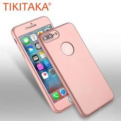 2 in 1 360 Full Body Phone Cases For iphone 7 6 6s Plus Coque Luxury Front PC+ Soft TPU Silicon Rubber Back Cover Protect Shell