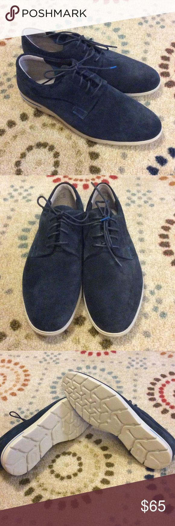 Men's Suede Clarks Shoes Men's Clarks shoes in great condition, Navy blue upper and white soles. Clarks Shoes Oxfords & Derbys