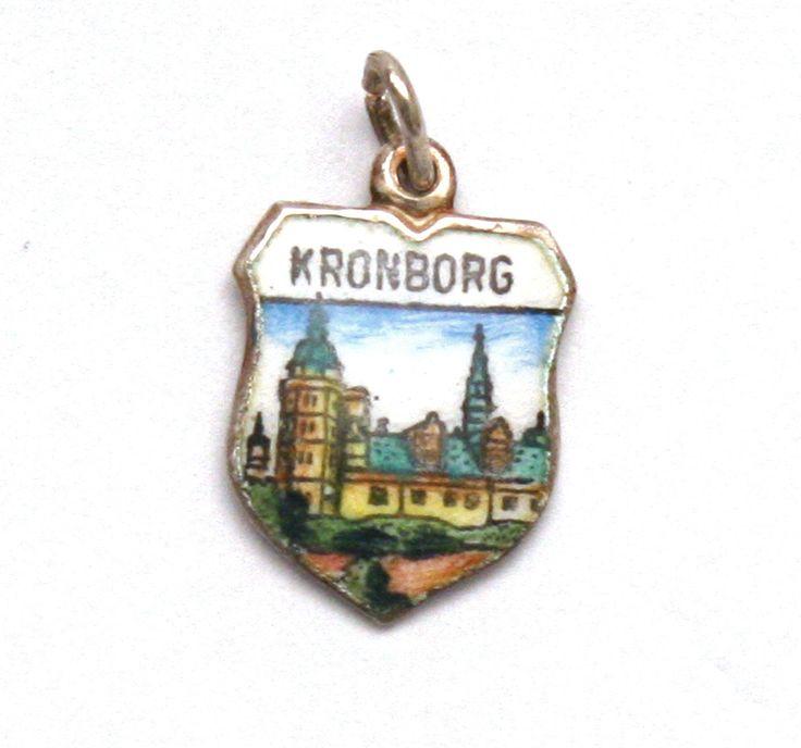 Kronborg Castle Enamel Travel Shield 835 Silver Bracelet Charm Helsingor Denmark by SterlingRevival on Etsy