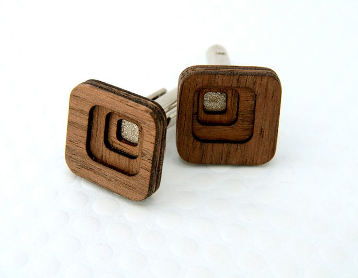 Cuff Links : Four Layer Concentric Squares in Walnut Wood - for the Stylish Man, Groom, Groomsmen, Father, or 5-Year Anniversary Gift. $44.00, via Etsy.