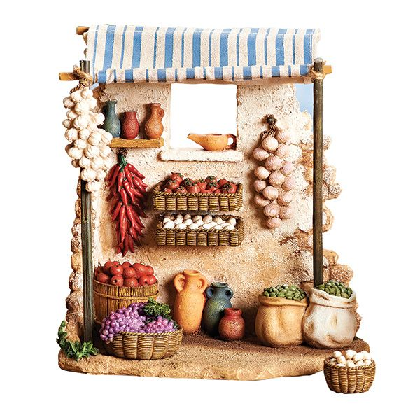 The Produce Shop, part of the Fontanini Collection of accessories, is a great match for your Nativity village scene. Other accessories available too!