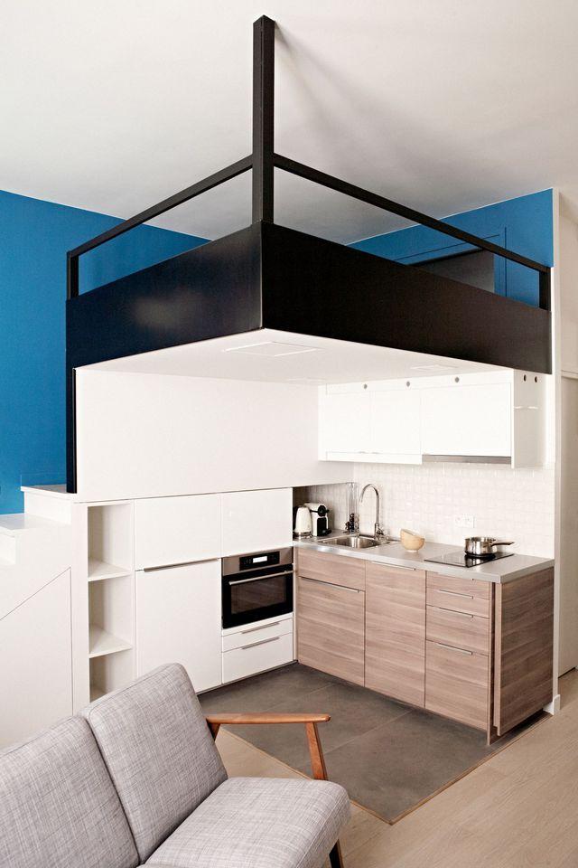Avec une grande mezzanine, facile de gagner de précieux mètres carrés dans un studio.