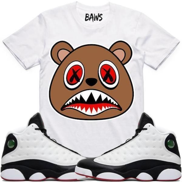 best service 84cfd f1868 CINNAMON BAWS White Sneaker Tees Shirt - Jordan 13 He Got Game